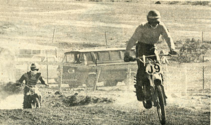 Jon Miller leads Rick Salmon during the second moto. The next lap and Rick was in first with Miller following. Heidbrink photo.