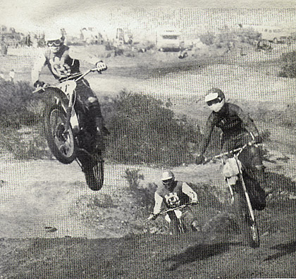 Zahrt also rode a Yamaha mono-shock in the 500 Pro race. Here he gets passed by an unidentified Husky rider. Nils Arne Nilsson brings up the rear, also on a Husky. Wright photo.