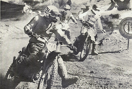 Rufus Kerr leads Willy Harper and Rick Salmon through the first corner. It didn't take Will long to take the lead and win the moto. Kiel photo.