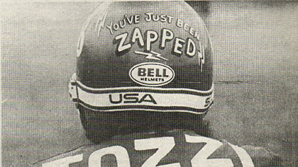 At least you know when you have been passad by Larry Tozzi.  His helmets let you know that'You've just been ZAPPED!.'Right. Larry.  Hatounian photo.