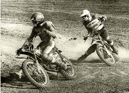 Jeff Tomlin leads Long Beach Honda rider Jim Wilson around the Ascot track during a recent High School motocross. Soon, they will be on TV.  Mahoney photo.