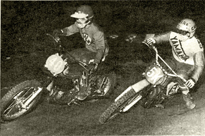 Dave Pessy had a new bike for Irwindale Friday night, it was a 250 Montesa. We hear it is Jeff Vidic's old bike.  Here, Mike Stearns from Lucky Yamaha tries to get under Dave. Photo by Buzz.