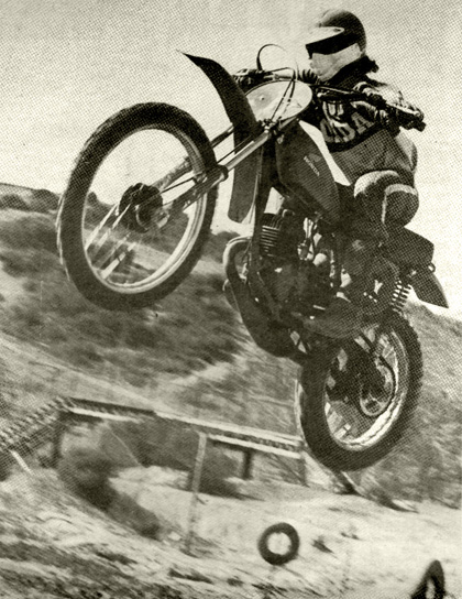 Ron Turner gets it up and away to a first plara finish in the 125 Pro class out at the RTMC motocross. If he keeps it up, he'll have to apply for a pilot's license. SCENE Photo.