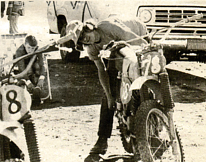 Rory Holladay preps Rex Staten's bikes.  He must have done a good job as both bikes held together and Rex took both classes by storm.  Staff photo.