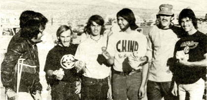 Cliff Urseth of the Dailey Independent in Ridgecrest is out with ihe big winners from the Benefit motocross. They are Mike Todd. Kenny Zahrt, Ray Lopez. Rex Staten. and Jeff Wright. After they won. they all gave their money to the Shearer family. Staff photo.