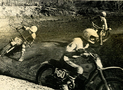 Terry Turner hurt before he gasses it past Mike Johnson. Scot Clifton trails Turner. It looks like Terry is surrounded by D-G riders. SCENE photo.