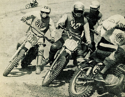 Bob Hannah, Kory Andrew, Bruce Bridgeham and Rich Thorwaldson all going for the lead out at Saddleback Park. - Corley Photo.