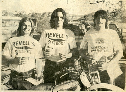 The three winners: from the left, Don Draz, Willy Harper, and Dave Haugh.  Dave was the odd man out, as he doesn't ride for Revells.  Hatounian photo.