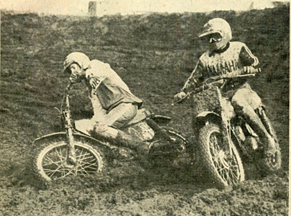One rider keeps on going while the other is about ready to stick his face in the mud while racing at Indian Dunes.   Kiel photo.